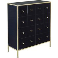 Vivian Glass Merchant Chest Of Drawers In Black And Gold