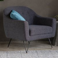 Product photograph showing Volka Fabric Upholstered Armchair In Licorice Black