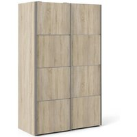 Product photograph showing Vrok Wooden Sliding Doors Wardrobe In Oak With 2 Shelves