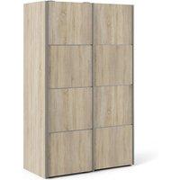 Vrok Wooden Sliding Doors Wardrobe In Oak With 5 Shelves