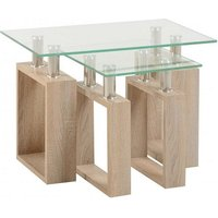 Product photograph showing Waddell Clear Glass Nest Of Tables With Sonoma Oak Legs