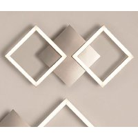 Product photograph showing Wall Art 2 Small Square Led Wall Flush Light In Satin Silver