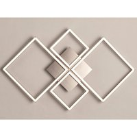 Product photograph showing Wall Art 4 Square Led Wall Flush Fitting Light In Satin Silver