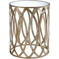 Product photograph showing Wally Leaf Design Mirrored Side Table Round In Silver