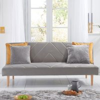 Product photograph showing Waltom Velvet Upholstered Sofa Bed In Grey
