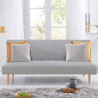 Product photograph showing Waltom Linen Fabric Upholstered Sofa Bed In Grey