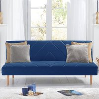 Product photograph showing Waltom Velvet Upholstered Sofa Bed In Blue