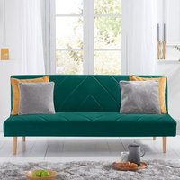 Product photograph showing Waltom Velvet Upholstered Sofa Bed In Green