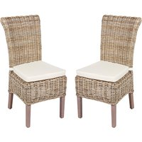 Product photograph showing Wantagh Kooboo Grey Wooden Wicker Dining Chairs In Pair