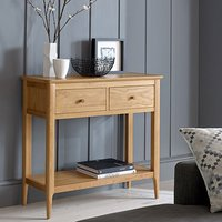 Wardle Wooden Console Table In Crafted Solid Oak With 2 Drawers