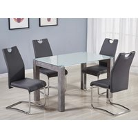 Warren Glass Top Dining Set With 4 Capella Grey Chairs