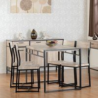 Product photograph showing Warwick Wooden Dining Table In Oak With 4 Chairs