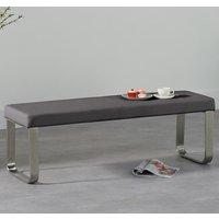 image-Washington Medium Dining Bench In Grey Faux Leather