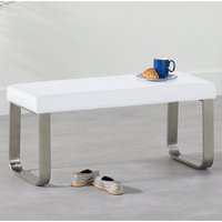 Product photograph showing Washington Small Faux Leather Dining Bench In White