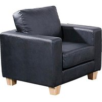 Product photograph showing Wasp Pu Leather 1 Seater Sofa In Black