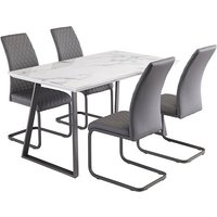 Product photograph showing Waverley Marble Effect Dining Table With 4 Hudson Grey Chairs