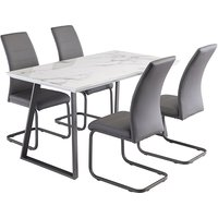 Product photograph showing Waverley Marble Effect Dining Table With 4 Michigan Grey Chairs
