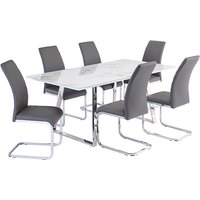 Product photograph showing Waverley Marble Effect Dining Table With 6 Hudson Grey Chairs