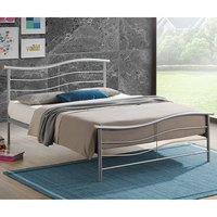 Product photograph showing Waverley Modern Metal Single Bed In Silver