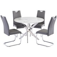 Product photograph showing Waverley Marble Effect Dining Table With 4 Garbo Grey Chairs