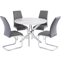 Product photograph showing Waverley Marble Effect Dining Table With 4 Tokyo Grey Chairs