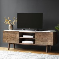 Wayne Marble Top TV Stand In White And Acacia Wood With 2 Doors