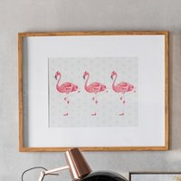 Product photograph showing Wayne Flamingoes Crossing Print Framed Wall Art