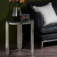 Product photograph showing Wazn Black Granite Round Side Table In Nickel