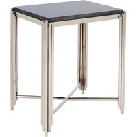 Product photograph showing Wazn Black Granite Square Side Table In Nickel