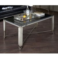Product photograph showing Wazn Black Granite Top Coffee Table With Nickel Base