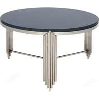 Product photograph showing Wazn Black Granite Top Round Coffee Table With Nickel Base