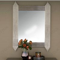 Product photograph showing Wazn Rectangular Bedroom Mirror In Nickel