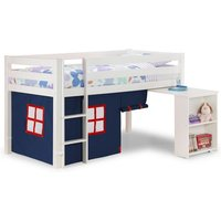 Product photograph showing Wendy Midsleeper Bunk Bed In Surf White With Blue Tent