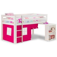 Product photograph showing Wendy Midsleeper Bunk Bed In Surf White With Pink Tent