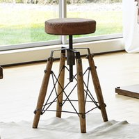 Product photograph showing Werchter Real Leather Stool In Vintage With Oak Wooden Legs