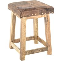Product photograph showing Werchter Square Real Leather Stool In Vintage Look