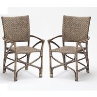 Product photograph showing Wickers Countess Rustic Wooden Accent Chairs In Pair
