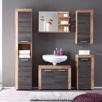 Wildon Wooden Bathroom Furniture Set In Walnut And Dark Brown