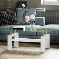 Product photograph showing Willis Glass Coffee Table In Clear With White High Gloss Legs
