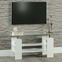 Product photograph showing Willis Glass Tv Stand In Clear With White High Gloss Legs