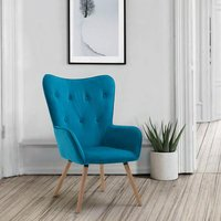 image-Willow Fabric Bedroom Armchair In Sapphire