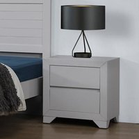 Wilmot Wooden Bedside Cabinet In Grey With 2 Drawers