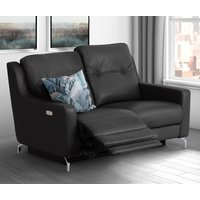 Product photograph showing Windsor Faux Leather Electric Recliner 2 Seater Sofa In Black