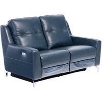 Product photograph showing Windsor Faux Leather Electric Recliner 2 Seater Sofa In Blue
