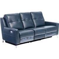 Product photograph showing Windsor Faux Leather Electric Recliner 3 Seater Sofa In Blue