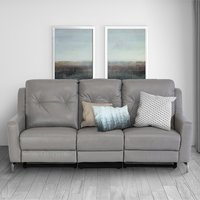 Product photograph showing Windsor Faux Leather Electric Recliner 3 Seater Sofa In Grey