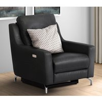 Product photograph showing Windsor Faux Leather Electric Recliner Armchair In Black