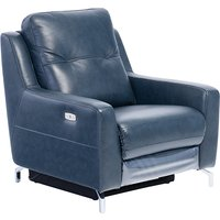 Product photograph showing Windsor Faux Leather Electric Recliner Armchair In Blue