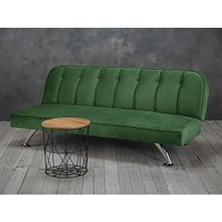 Wingert Velvet Sofa Bed In Green With Silver Finished Legs