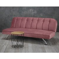 Wingert Velvet Sofa Bed In Pink With Silver Finished Legs